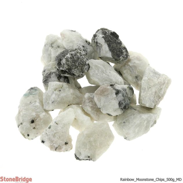 "Rainbow Moonstone Chips - 500g - MD 1"" to 2"""
