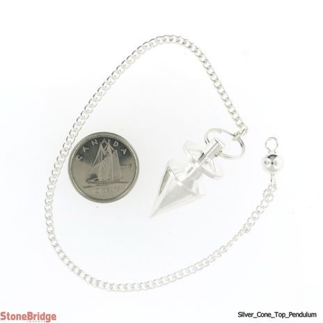 """Metal Pendulum - Silver Colour Cone & Top with Chain - 1"""""""