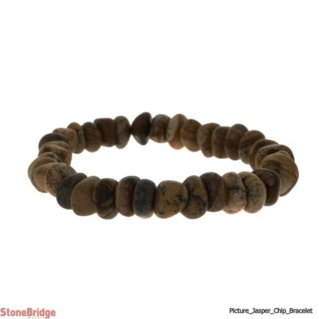 Picture Jasper Type 2 Tumbled Bead Stretch Bracelet
