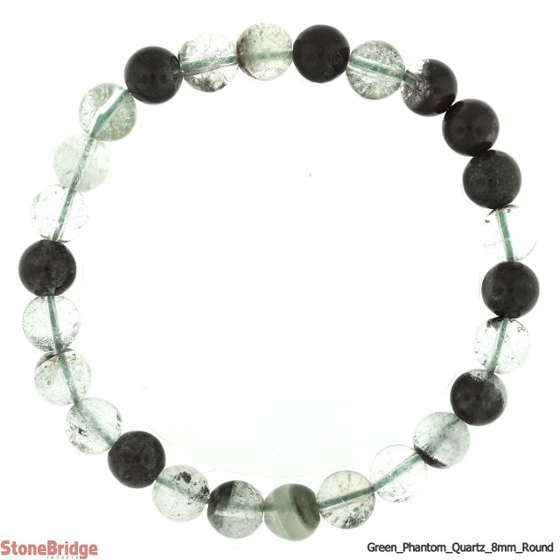 Green Phantom Quartz Round Bead Stretch Bracelet - 8mm