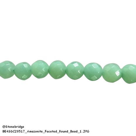 "Amazonite Faceted - Round Bead 7"" strand - 6mm"