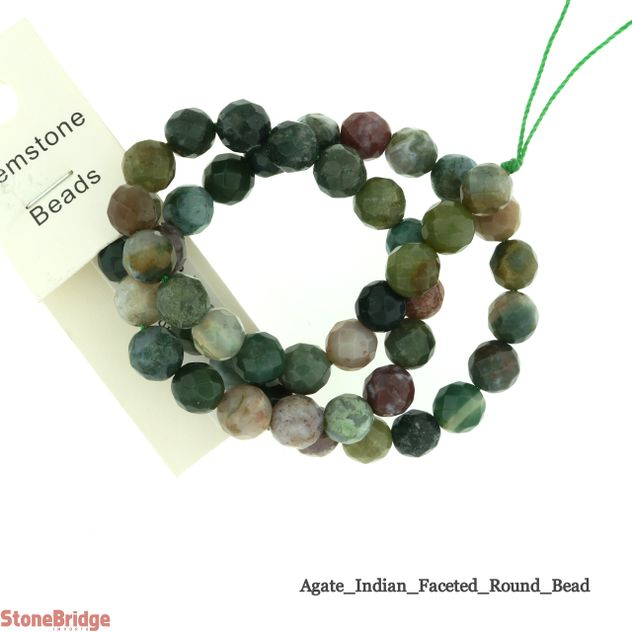 India Agate Faceted - Round Bead 15""