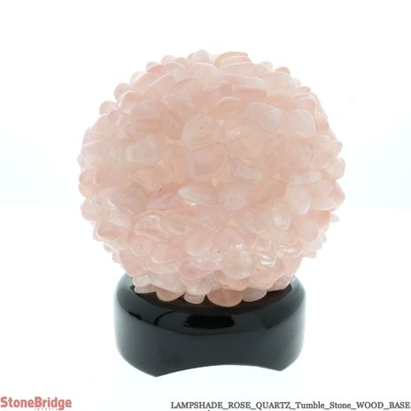 Rose Quartz Tumble Stone lamp on Wood Base #01 - 5""