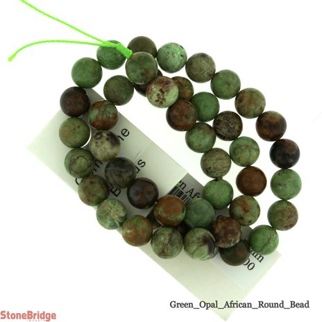 """Green African Opal - Round Bead 15"""""""