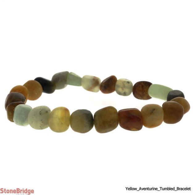 Aventurine Yellow Tumbled Bead Stretch Bracelet