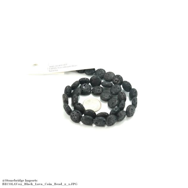 "Black Lava - Coin Bead 15"" Strand - 12mm -#2"