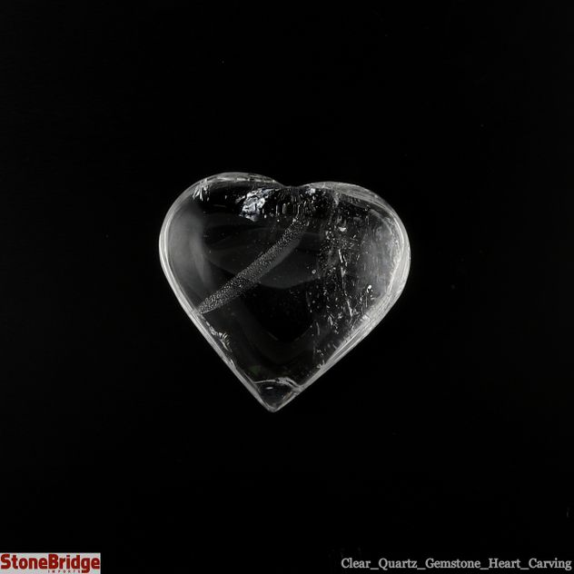 "Clear Quartz Crystal Heart - Size #1 - 35 mm x 30 mm (1"" to 1 1/2"")"