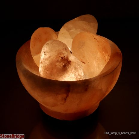 Himalayan Salt Lamp Bowl with 4 Carved Hearts