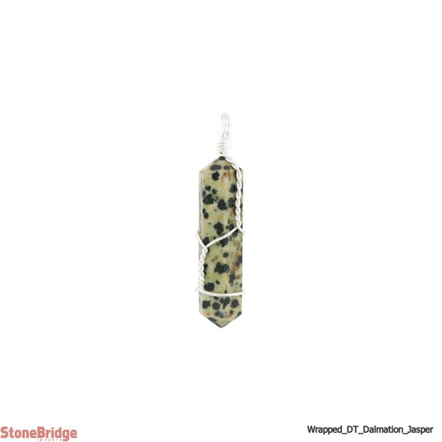 Dalmatian Jasper Double Terminated Point Wrapped - Silver Plated Pendant