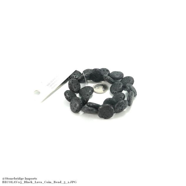"Black Lava - Coin Bead 15"" Strand - 20mm -#7"