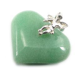 Aventurine Heart With Angel - Silver Pendant