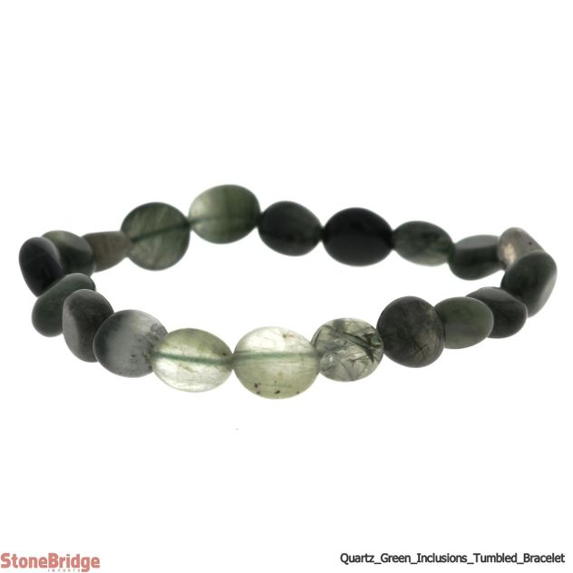 Quartz with Green Inclussions Tumbled Bead Stretch Bracelet
