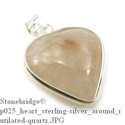 Rutilated Quartz Heart with Silver All Around - Silver Pendant