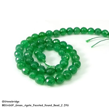 Green Agate Faceted - Round Bead