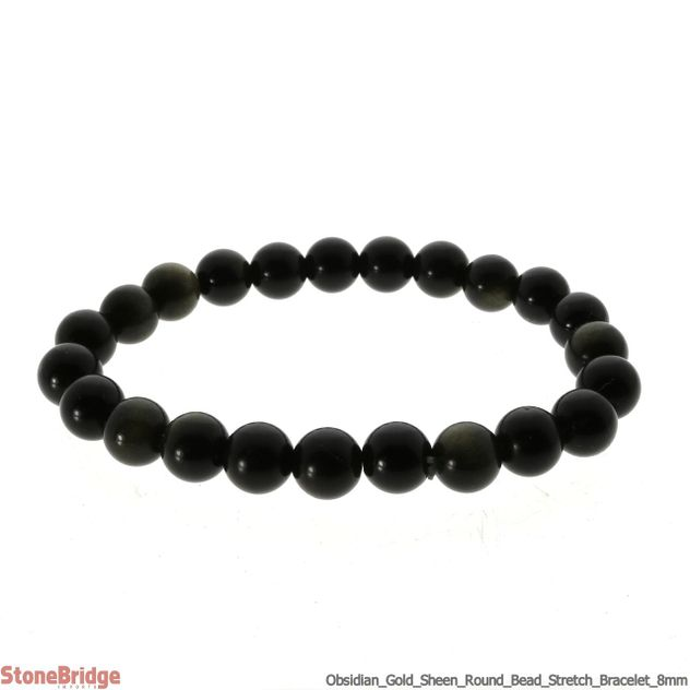 Obsidian Gold Sheen Round Bead Stretch Bracelet