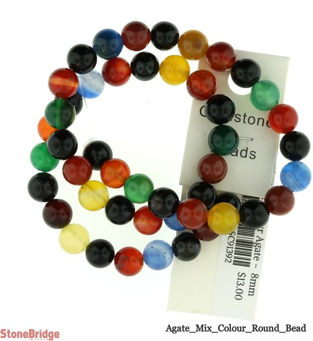 Mix Colour Agate - Round Bead