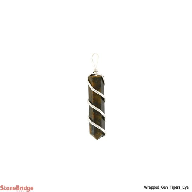 Tiger Eye Generator Coil Wrapped - Silver Plated Pendant