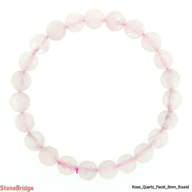 Rose Quartz Faceted Round Bead Stretch Bracelet