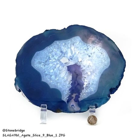 "Blue Agate Slice Thin #9 - 8"" to 9 1/4"""