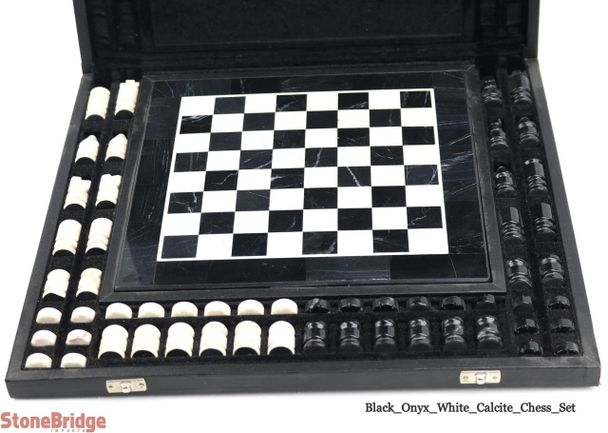 Black and White Onyx Chess Game Set