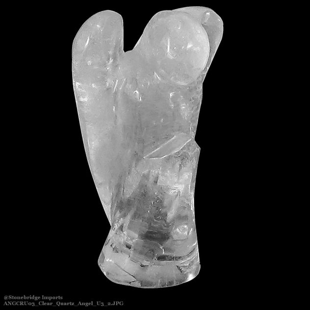 "Clear Quartz Angel Carving Unique #3 - 6 1/4"" tall (ANGCRU03)"