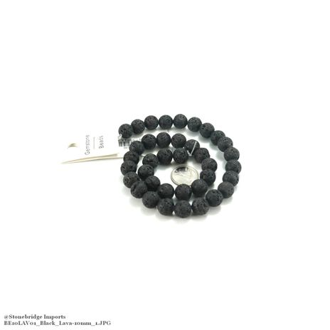 "Black Lava - Round Bead 15"" strand - 10mm"