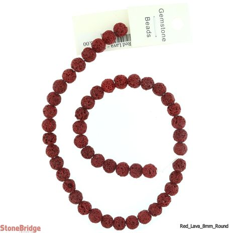 "Red Lava - Round Bead 15"" strand - 8mm"