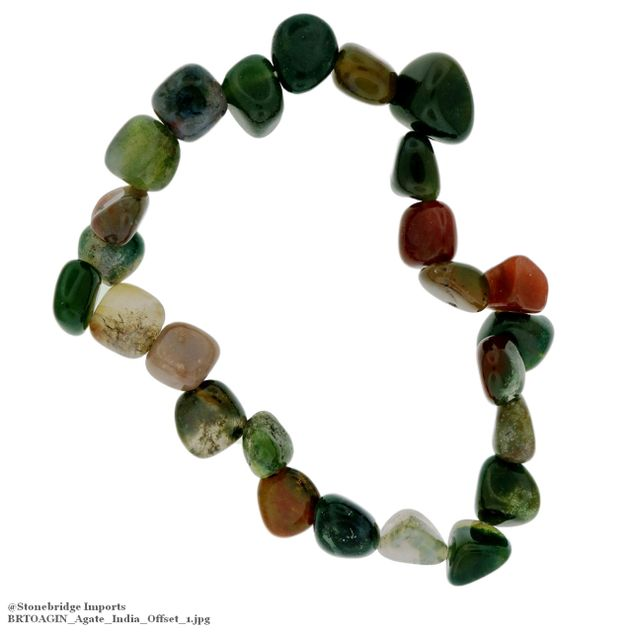 Agate India Tumbled Offset Bead Stretch Bracelet