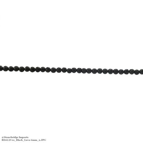"Black Lava - Round Bead 15"" strand - 4mm"