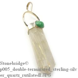 Rutilated Quartz Double Terminated Wand with Cabochon - Silver Pendant