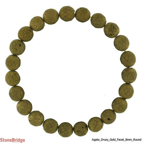 Druzy Agate Electroplated Gold Faceted Round Bead Stretch Bracelet - 8mm