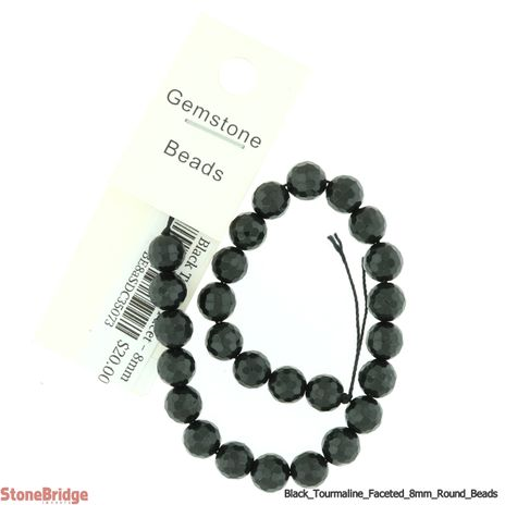 """Black Tourmaline Faceted - Round Bead 7"""" strand - 8mm"""