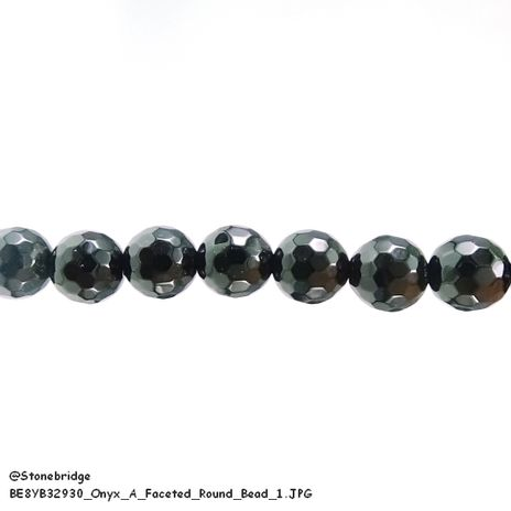 "Onyx - A Faceted - Round Bead 15"" strand - 6mm"