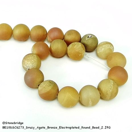 "Druzy Agate Bronze Electroplated - Round Bead 7"" strand - 10mm, #1"