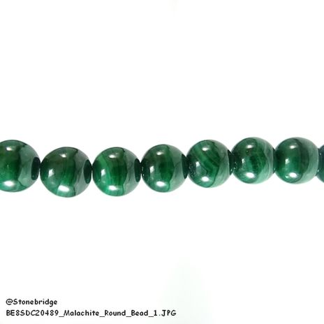 "Malachite - Round Bead 7"" strand - 6mm"
