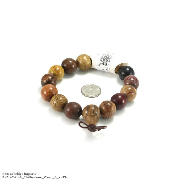 Multi-Colour Wood Mala Bracelet - 15mm -#6
