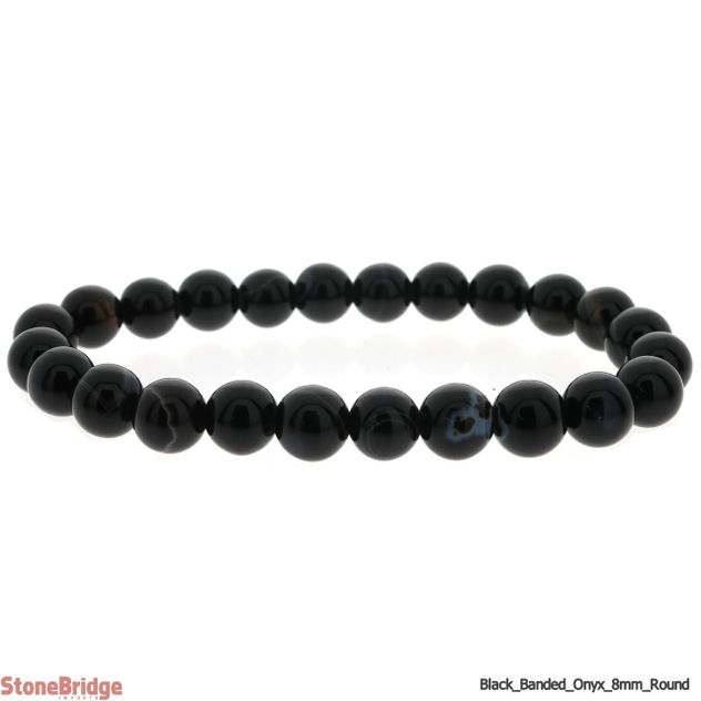 Black Onyx Banded Round Bead Stretch Bracelet - 8mm