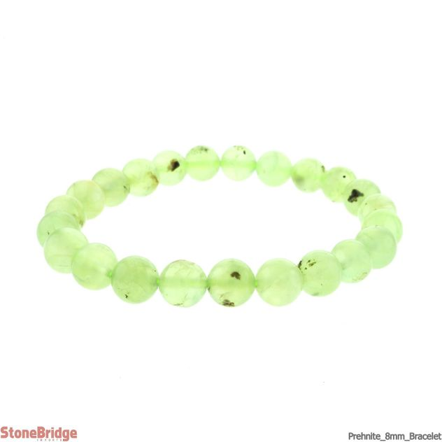 Prehnite Round Bead Stretch Bracelet - 8mm