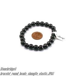 Shungite Bracelet 8mm Round Bead Stretch Bracelet