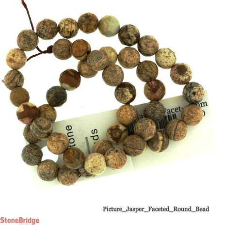 Picture Jasper Faceted- Round Bead 15""