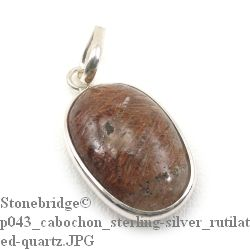 Rutilated Quartz Cabochon - Silver Pendant