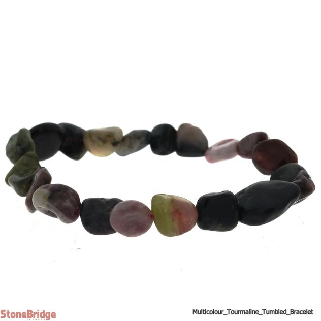 Tourmaline Multi Colour Tumbled Bead Stretch Bracelet