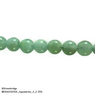 "Aquamarine A - Round Bead 7"" strand - 6mm"