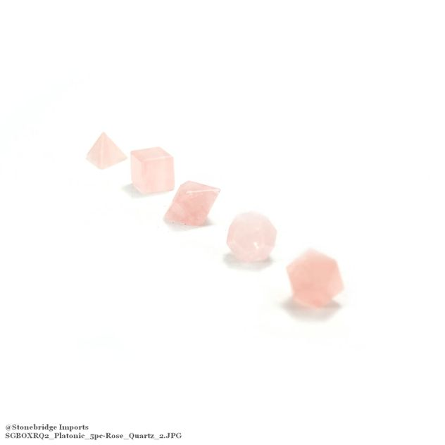 "Rose Quartz 3/4"" Platonic Solids Set in Wood Case"
