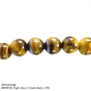"Tiger's eye A - Round Bead 15"" strand - 8mm"