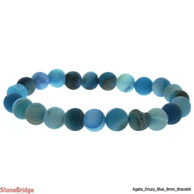 Druzy Agate Blue (3) Matte Round Bead Stretch Bracelet - 8mm