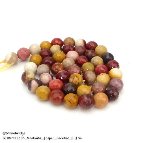 "Mookaite Jasper Faceted - Round Bead 15"" strand - 6mm"