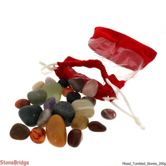 Mixed Tumbled Stone In Velvet Bag 200g