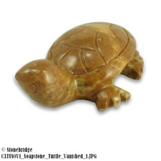 Turtle Soapstone Carving Varnished