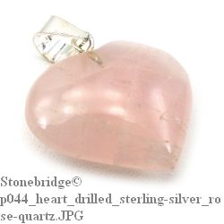 Rose Quartz Heart - Silver Pendant